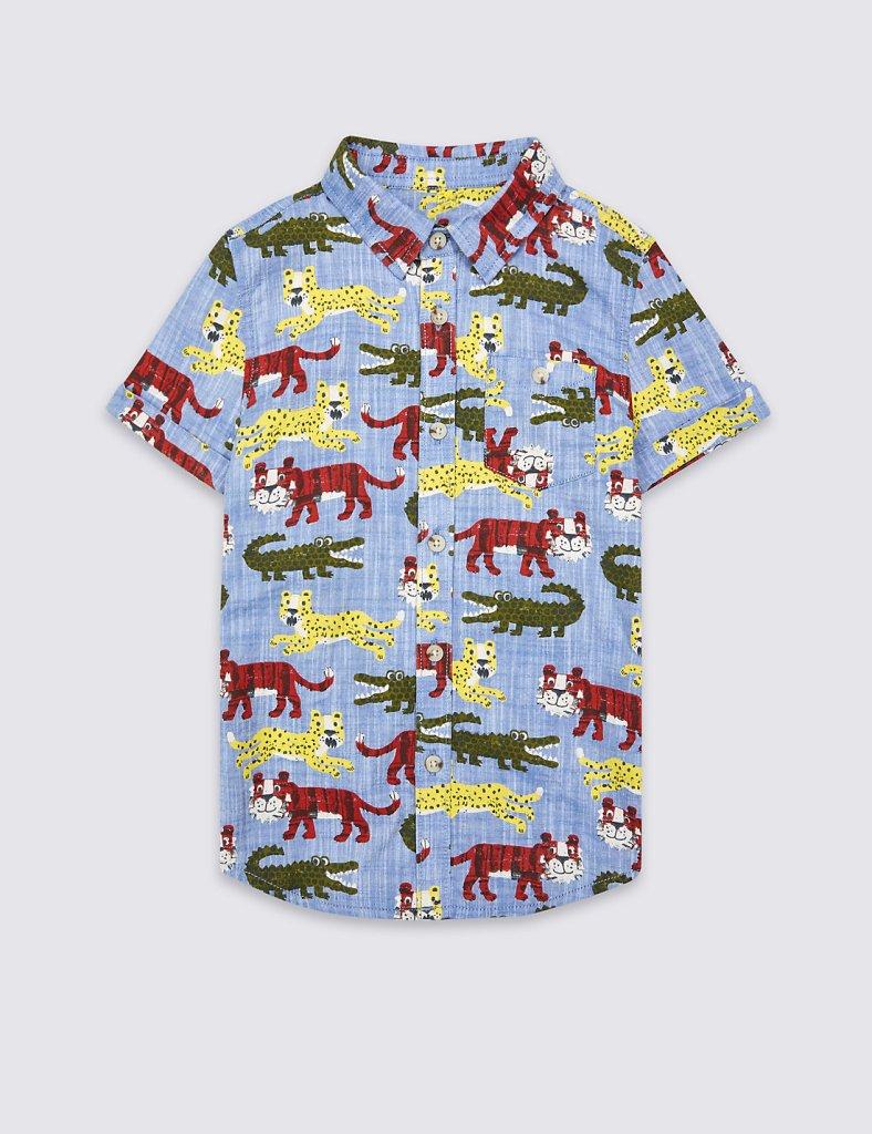 M&S Safari Print Boys' Shirt