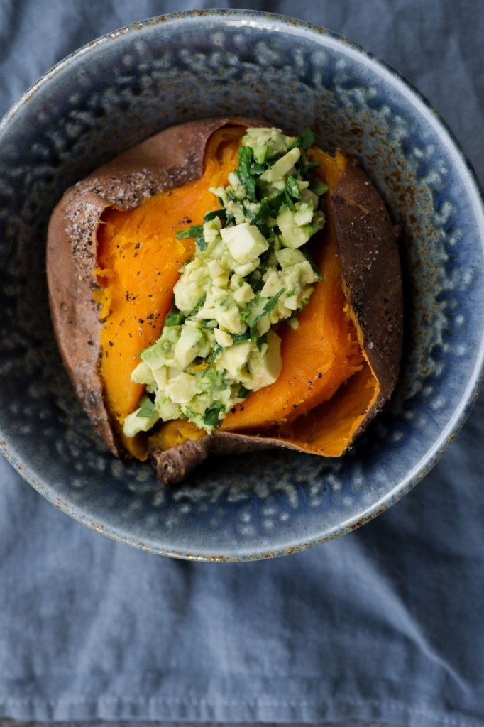 Baked Sweet Potato With Avocado Salad